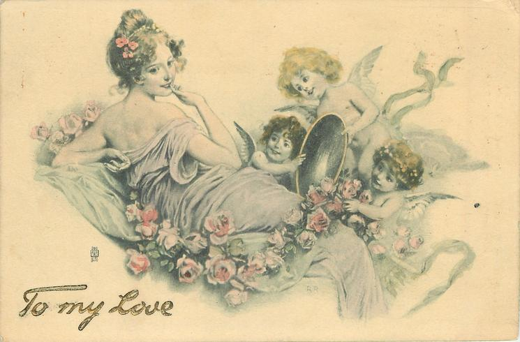 lady reclines, head to left, looking right, three cupids hold up mirror