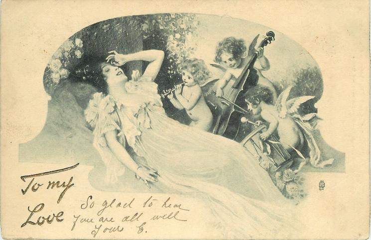 woman reclines, three cupids play instruments for her