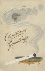 CHRISTMAS GREETINGS  smoke from cigarette surrounds photo-inset of girl