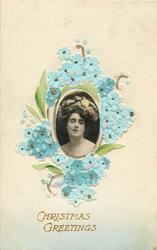 CHRISTMAS GREETINNGS  forget-me-nots flowers surround photo-inset of girl