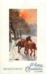 A HAPPY CHRISTMAS   two horses