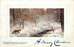A MERRY  CHRISTMAS    fox on snow by stream