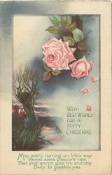 WITH BEST WISHES FOR A HAPPY CHRISTMAS   pink roses