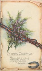HAPPY CHRISTMAS  heather, tartan  & horseshoe