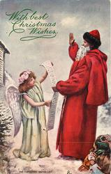THE CHRISTMAS VISITING LIST  Santa talks to angel holding up a long list