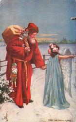DIRECTING SANTA CLAUS  angel directing Santa