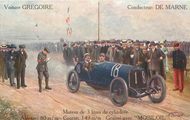 car 18 moves right/front at end of race  VOITURE GREGOIRE, CONDUCTEUR: DE MARNE, MOTEUR DE 3 LITRES DE CYLINDREE ALESAGE: 80 M/M-COURSE: 149 M/M.-GRAISSE AVEC 'MOBILOIL