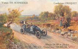 car 20 moves right/front along country road VOITURE TH. SCHNEIDER, CONDUCTEUR: CROQUET, MOTEUR 18 HP 4 CYLINDRES-82 1/2-140 MM.-GRAISSE AVEC 'MOBILOIL