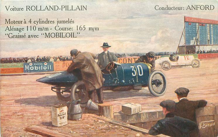car 30 moves faces right on race track, mechanics adjust  VOITURE: ROLLAND-PILLAIN CONDUCTEUR: ANFORD MOYEUR A 4 CYLINDRES JUMELES ALESAGE: 110 M/M-COURSE; 165 M/M-GRAISSE AVEC 'MOBILOIL
