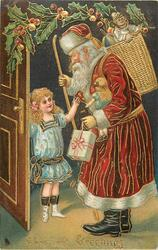 CHRISTMAS GREETINGS  Santa carrying stave & presents is greeted by girl in blue dress