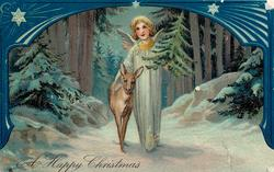A HAPPY CHRISTMAS  angel carrying Christmas tree, walking beside deer, ornate blue border above