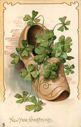 NEW YEAR GREETINGS  tan slipper, 4 leaf clover