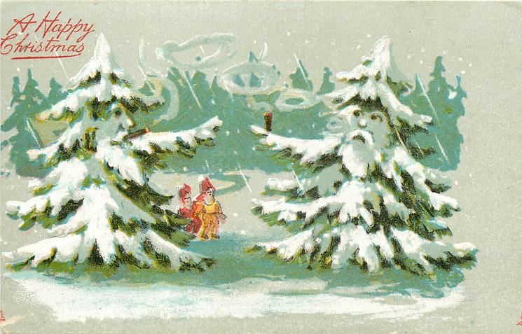 A HAPPY CHRISTMAS  two small people between two snow covered  personised evergreens