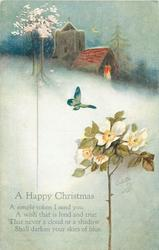 A HAPPY CHRISTMAS    wild rose,  butterfly, church