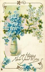 A HAPPY NEW YEAR TO YOU  vase of blue & white forget-me-nots left