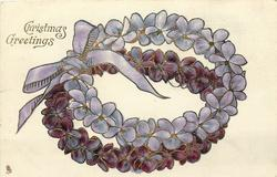 CHRISTMAS GREETINGS  double wreaths of violets tied with purple bow