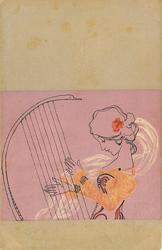 girl playing hand-held harp
