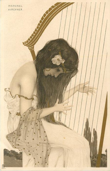 girl  faces right playing large harp