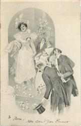 lady walks forward, clown salutes, four men bow