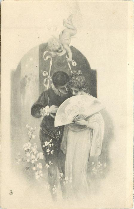 lovers whisper behind fan, cupid above