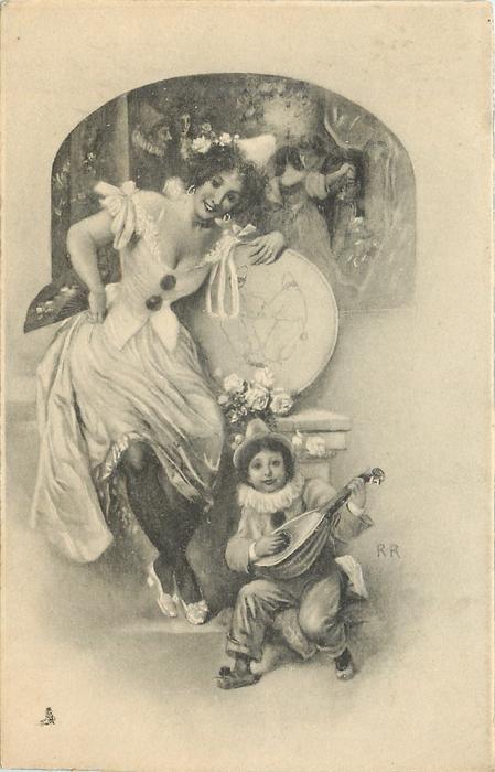 woman sitting, boy playing instrument