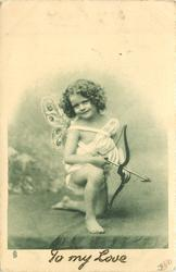 cupid on left knee, holding bow and arrow