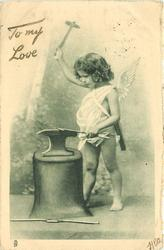 cupid with hammer raised high