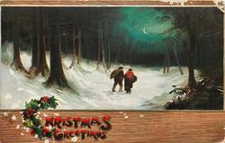CHRISTMAS GREETINGS  man & woman walk away at night down snowy path through woods