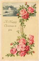 pink roses below and above, inset at top with house and fence by road