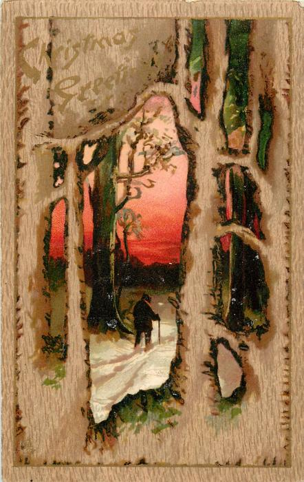 CHRISTMAS GREETINGS  man with cane walks away in snow, framed by large trees, red sky