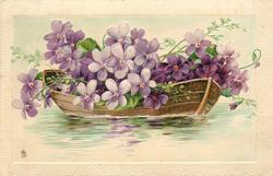 row boat with purple flowers in it