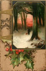 HEARTY GREETINGS  inset man & dog walk through snowy woods, red sky, holly below insert