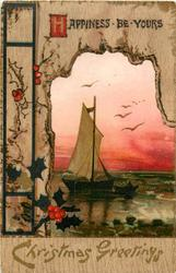 HAPPINESS BE YOURS  sailboat and dingy, birds above, red sky
