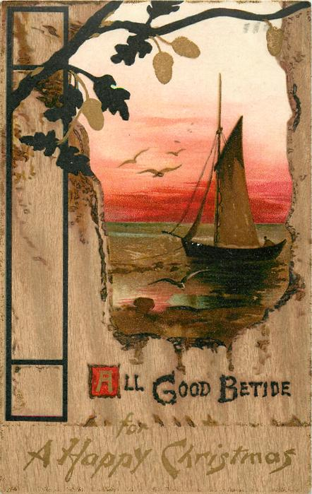 ALL GOOD BETIDE  sailboat, birds above, red sky