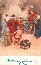 BRINGING IN THE YULE LOG.  medieval scene
