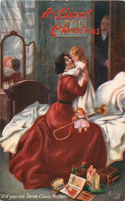 A HAPPY CHRISTMAS  mother & child embrace on bed, father in background