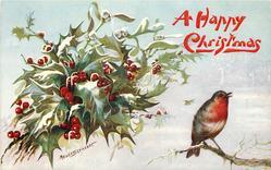 robin below right, holly & mistletoe left