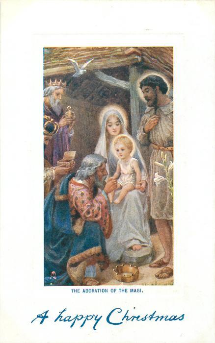 THE ADORATION OF THE MAGI.  Jesus on Mary's lap, magis left, Joseph right