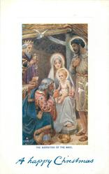 THE ADORATION OF THE MAGI.  Jesus on Mary's lap, magis left, Joseph right