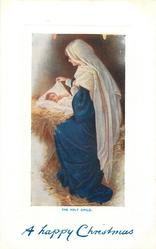 THE HOLY CHILD.  Jesus in manger, Mary sits at his side