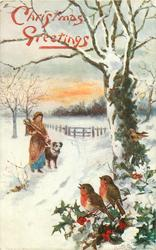 two robins right, woman carrying firewood left, dog, snow scene