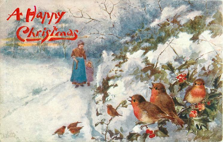 seven robins, woman and child on path, snow scene