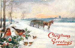 two robins on holly left, horse drawn goes right, snow scene