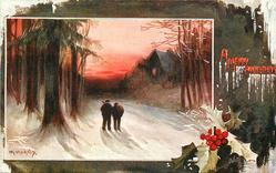 A MERRY CHRISTMAS inset two men walk away down snowy road, lighted window right, holly below right