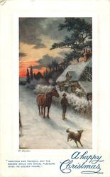 A HAPPY CHRISTMAS  man leads horse forward down snowy road, dog front