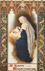 A HAPPY CHRISTMASTIDE   Mary seated at the side of Jesus in the manger