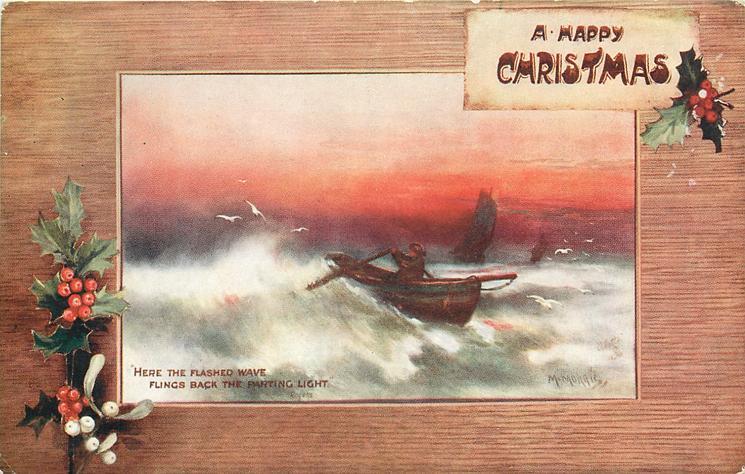 A HAPPY CHRISTMAS  inset single oarsman rows