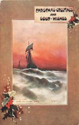 CHRISTMAS GREETINGS AND GOOD WISHES    inset two sailboats