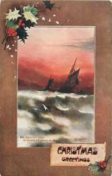 CHRISTMAS GREETINGS   inset two sailboats