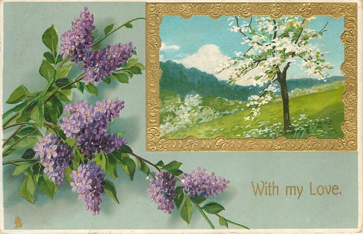 purple lilac left with a gold framed insert above right of fields, white flowers and  tree in blossom